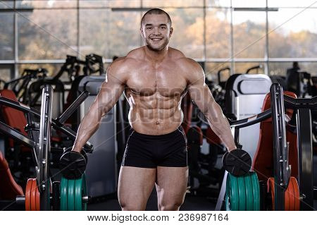 Brutal Strong Bodybuilder Athletic Fitness Man Pumping Up Abs Muscles Workout Bodybuilding Concept B