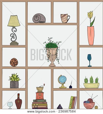 Hand Drawn Book Shelves Seamless Pattern Background, Colorful Objects Collection