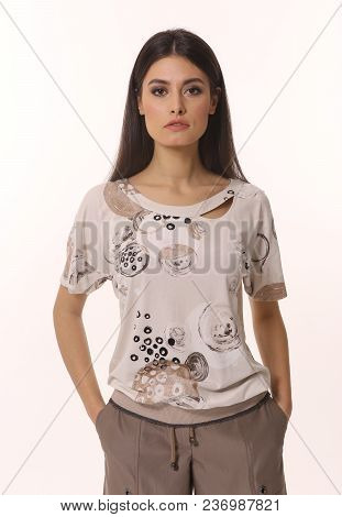 Oriental Indian Student Brunette With Streight Black Hair Model Girl In Summer Short Sleeve Loose Bl