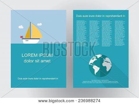 Vector Brochure Sailboat And Skipper. Flat Design Background