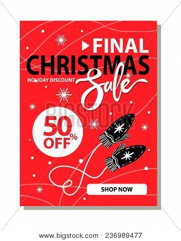 Final Christmas Sale, Holiday Discount And Shop Now, Placard With Snowflakes And Image Of Mittens Th