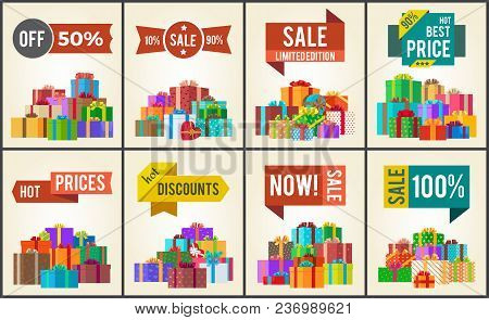 Set Of Promo Posters With Advertisement Stickers Informing About Discounts And Piles Of Present Boxe