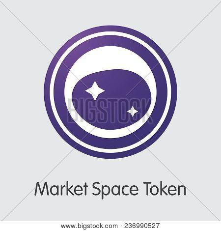 Market Space Token - Coin Illustration Of Fintech Industry, Finance Digitization. Modern Colored Log