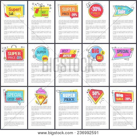 Super Sale And Price Special Offer, Posters Collection Consisting Of Stickers And Labels And Informa