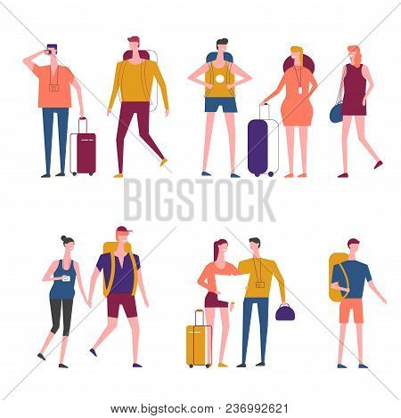 Travelers Cartoon Icons. Vector People Man An Woman Traveling With Travel Bags Or Backpacker Tourist