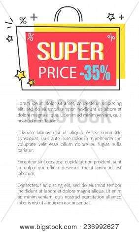 Super Price Promo Poster With Shopping Bag Sticker Of Bright Colors And With Small Stars Vector Illu