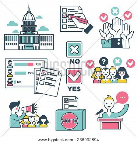 Vote And Voting People Icons. Vector Line Symbols Of Vote Hands And Voting Poll Check Marks For Pres
