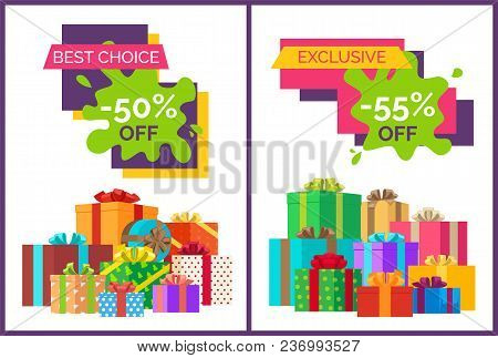 Best Choice Half Price Off Discount On White Background. Vector Illustration With Sale Advertisement