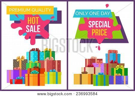 Premium Quality Hot Sale, Special Price Only One Day, Set Of Placards With Lots Of Boxes With Ribbon