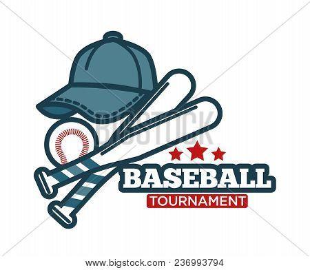 Baseball Logo Template For Sport Club Tournament Or Team League Badge. Vector Baseball Game Ball, Ba
