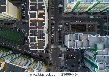 Roofs of houses Residential housing community Residential Properties real estate for rent top view
