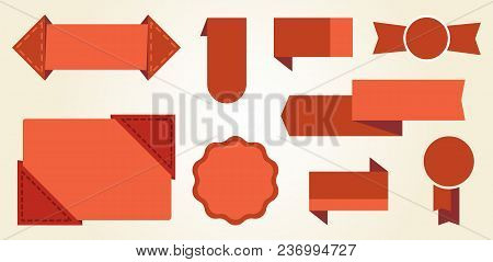 Red Signs And Badges Icon Isolated On White Background. Vector Illustration Different Shaped Badges