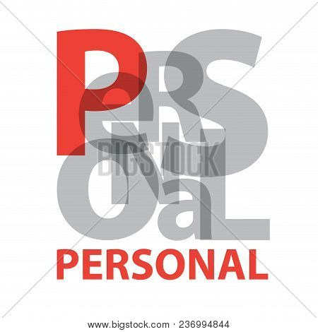 Vector Personal. Broken Text On White Background