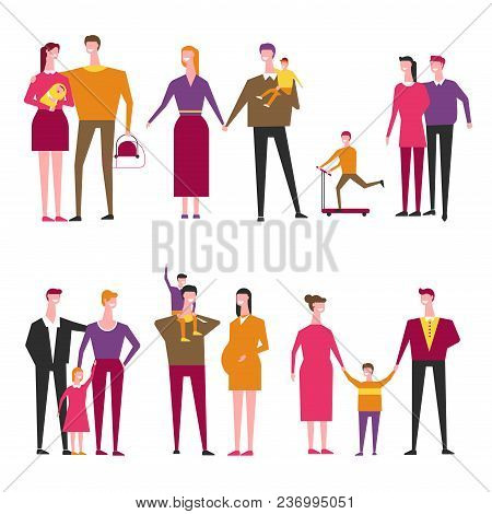 Family With Kids Cartoon Icons. Vector Father With Mother And Children Or Newborn Baby Child Charact