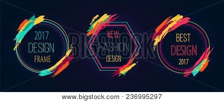 Design And New Fashion Frame, Stickers With Headlines Put In Circular Frames Decorated With Wide Lin