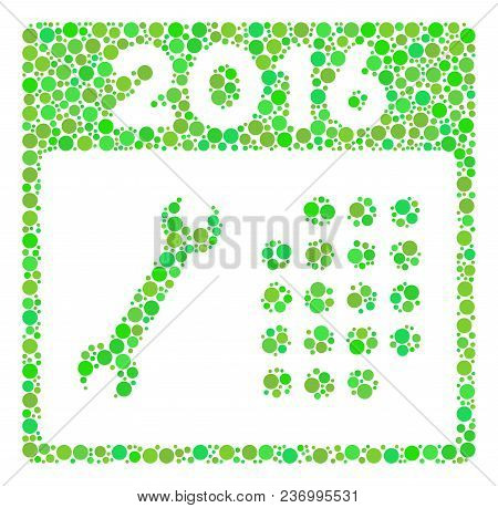 2016 Service Calendar Mosaic Icon Of Circle Spots In Various Sizes And Green Color Hues. Vector Fill