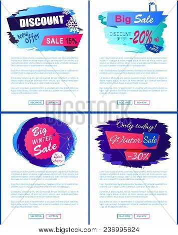Discount New Super Big Sale Winter New Offer Hanging Tag Set Of Web Posters With Place For Text Vect