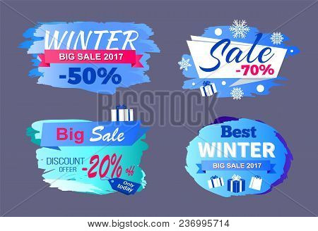 Winter Big Sale 2017 Price Discount -70 Only Today Offer -20 Best Tags Set Of Seasonal Labels Vector