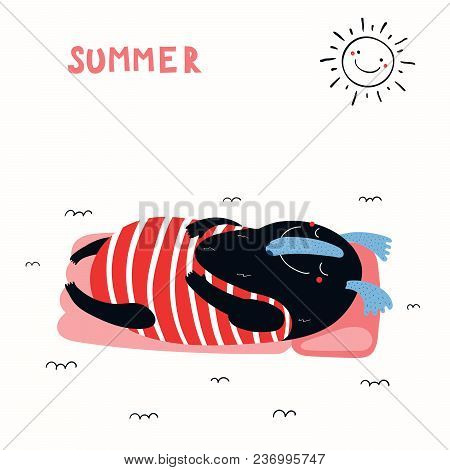 Hand Drawn Vector Illustration Of A Cute Funny Monster Floating On A Mattress On A Summer Day, With