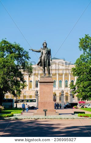 St Petersburg, Russia-august 15, 2017. The State Russian Museum And Monument To Alexander Pushkin. A