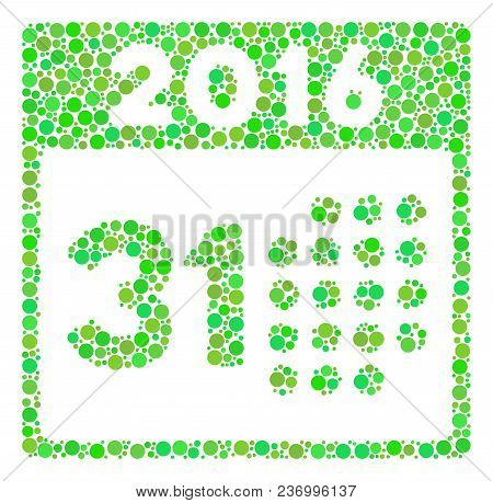 Last 2016 Month Day Collage Icon Of Circle Spots In Various Sizes And Eco Green Color Tinges. Vector