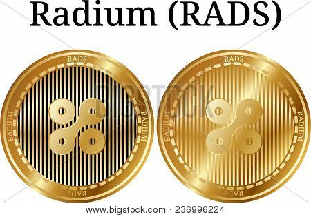 Set of physical golden coin Radium (RADS), digital cryptocurrency. Radium (RADS) icon set. Vector illustration isolated on white background. poster
