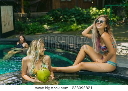Cheerful Attractive Young Women In Swimwear Relaxing Together At Swimming Pool