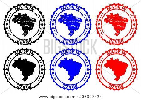 Made In Brazil - Rubber Stamp - Vector, Brazil Map Pattern - Black, Blue And Red