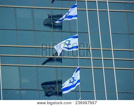 Closeup Of The Flag Of Israel State