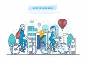 Bicycles for rent. City bike rent for tourists, city visitors. Trip to the park by bike, walks, a mobile application for searching and renting a vehicle. Illustration thin line design. poster