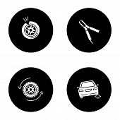 Auto workshop glyph icons set. Punctured tire, car jumper, wheel changing, auto repair jack. Vector white silhouettes illustrations in black circles poster