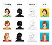 The appearance of a woman with a hairdo, the face of a girl. Face and appearance set collection icons in cartoon, black, outline, flat style vector symbol stock illustration . poster