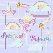 Vector set with Unicorn, Rainbow, Horn, star. Unicorn, Rainbow handwritten lettering as patch, stick cake toppers, laser cut plastic, wooden toppers. Props for baby birth, Unicorn, Birthday party. poster