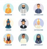 Round avatars set with pictures of religion leaders. Religion sikhism and judaism, buddhism and orthodoxy. Vecto illustration poster