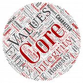 Conceptual core values integrity ethics round circle red concept word cloud isolated background. Collage of honesty quality trust, statement, character, perseverance, respect and trustworthy poster