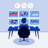 Data analysis design concept. Analyst, trader working. Man, 6 laptop screen with data analysis graphs ansd charts. Trendy flat style. Vector illustration. poster