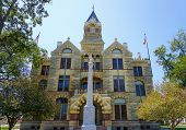 Romanesque Revival style Fayette County Courthouse in La Grange Texas poster