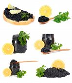 sandwich with black caviar isolated on white background poster