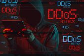Distributed denial of service or DDoS attack concept with faceless hooded male person using tablet computer, low key red and blue lit image and digital glitch effect poster