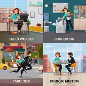 Multitasking 2x2 design concept set of business meeting hard worker congestion and tardiness flat square compositions vector illustration poster