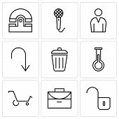 Set Of 9 simple editable icons such as Unlocked padlock, Office briefcase, Shopping cart, Erlenmeyer Flask, Dustbin, Arrow pointing to down, Male avatar, Voice recorder, Old phone, can be used for poster