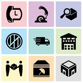 Set Of 9 simple editable icons such as Delivery box, Delivery package with umbrella, Delivery worker giving a box to a receiver, Boxes piles sto inside a garage for delivery, Logistics delivery truck poster