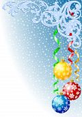 Christmas background with christmas balls konfetti and snowflakes poster
