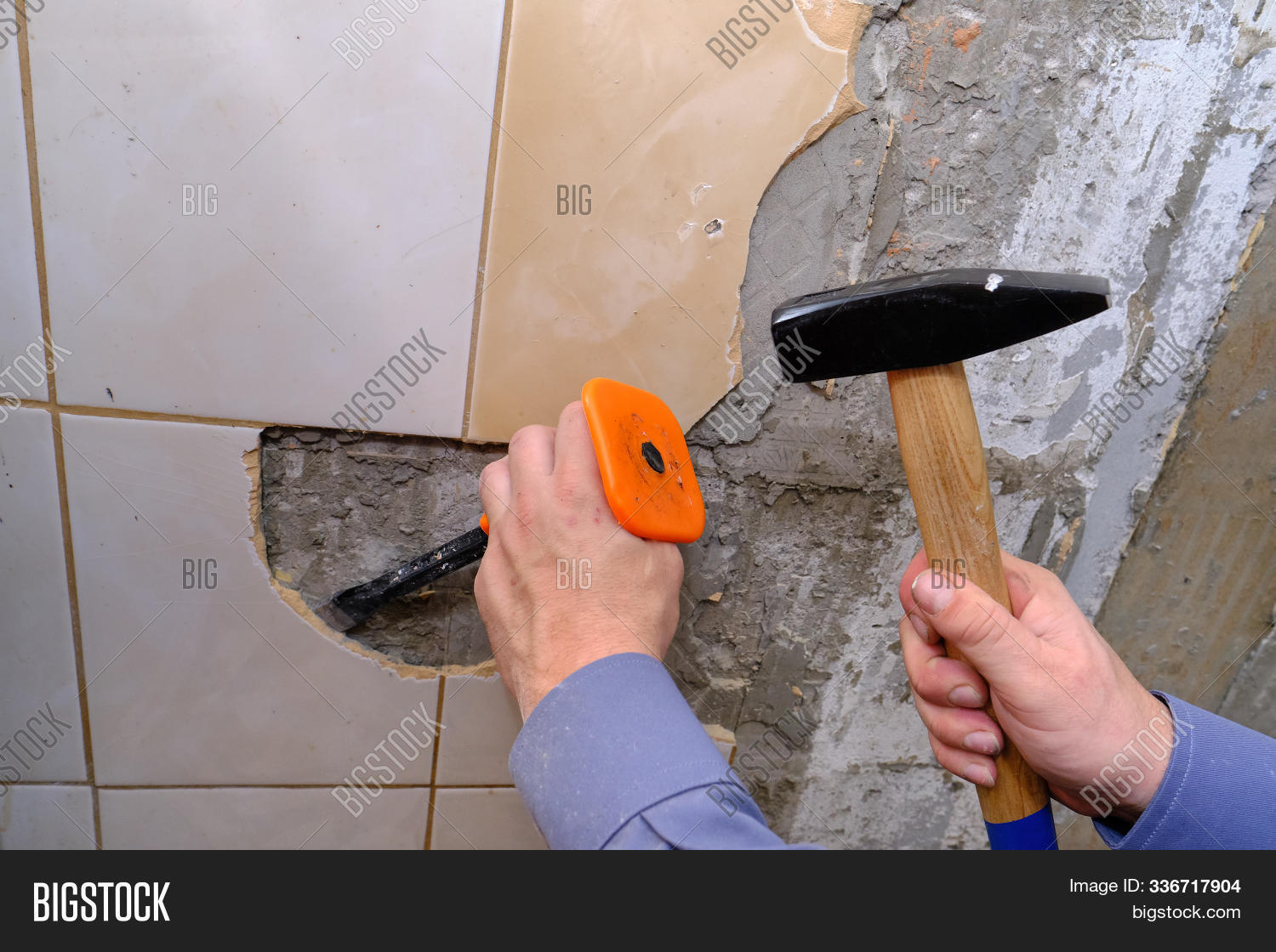 Removing Old Tiles Image Photo Free Trial Bigstock