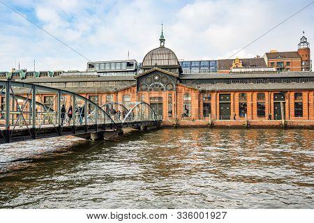 Hamburg, Germany - November 09, 2019. Fish Auction Hall