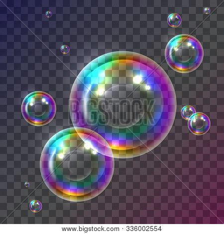 Realistic Soap Bubbles Collection On Transparent Background. 3d  Icons Of Colored Water Bubble Set.