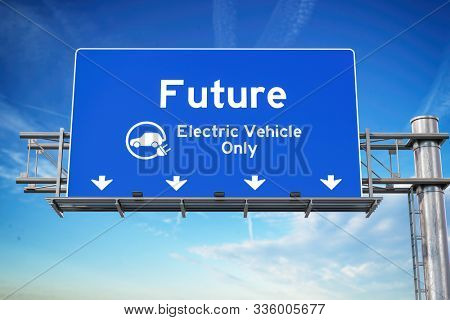 Our future with wlectric vehicle only green traffic road sign with symbol of electric car on sky background. Ecology and environmental concept background. 3d illustration