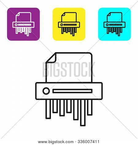 Black Line Paper Shredder Confidential And Private Document Office Information Protection Icon Isola