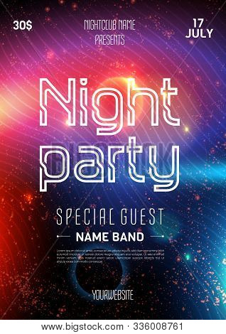 Club Party Flyer. Night Starry Sky. Blue Space Background. Party Event Decoration. Art Design. Black
