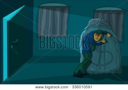 Greedy businessman with a bag of money. Cartoon illustration of a man hiding a money bag for tax evasion, financial crime, money laundering concept. Greed wealth money concept. Stock vector EPS poster